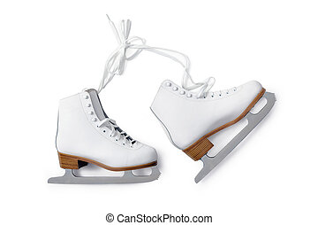 Ice skates - white ice-skating shouse isolated on white...