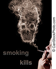 """The concept """"smoking kills"""". Isolated on a black background..."""