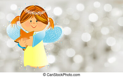 Angelic - Little kind angel with star,illustration to...