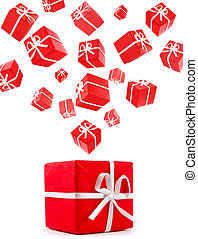 flying red gift boxes cut out from white