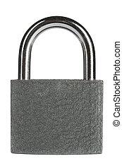 padlock - gray metallic padlock, cut out from white