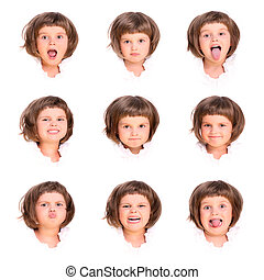 Little princess - A collage of nine faces of a four year old...