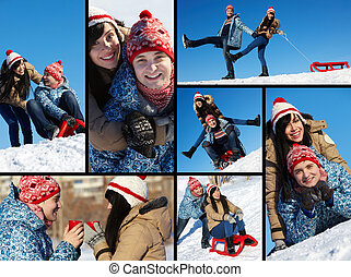 Happy dates - Collage of happy couple in warm clothes...