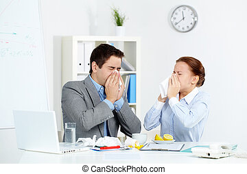 Symptoms of flu - Image of sick business partners blowing...