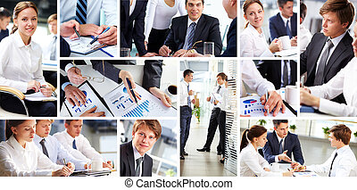 People at work - Collage of busy people discussing work and...
