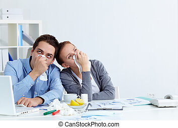 Annoying disease - Image of sick business partners with...
