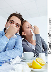 Unhealthy associates - Image of sick business partners with...