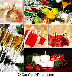 Christmas objects - Collage of holiday objects on Christmas...
