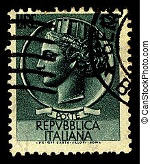 Postage stamp. - Italy-CIRCA 1955:A stamp printed in Italy...