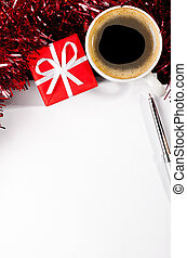 christmas letter - gift box and coffee cup with paper sheet...