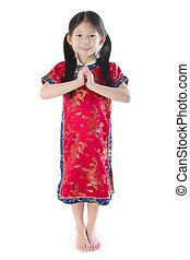 Oriental girl - Little oriental girl wishing you a happy...