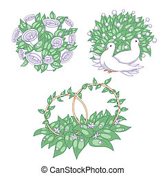 Wedding set: bridal bouquet, pigeons and rings; vector...
