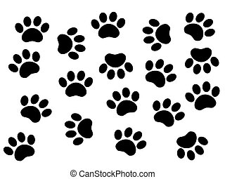 Dogs tracks - illustration of dog or animal prints in black...