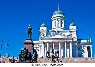 Cathedral of Helsinki - view of the senate square with the...