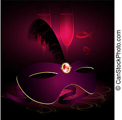 carnival half-mask and champagne - on a black-purple...