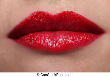 Voluptuous Red Lips - Close up of voluptuous red lips
