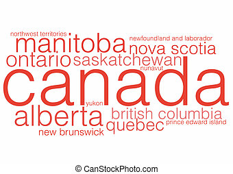 Canadian Provinces and Territories - A word cloud including...