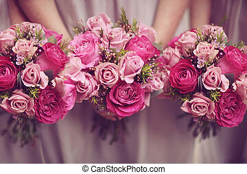 Trio of Rose Posy Wedding Bouquets - Trio of pink rose posy...