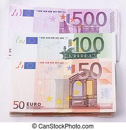 Wads of 50, 100, 500 Euro bills