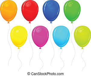 color balloons - Beautiful color balloons isolated on white,...