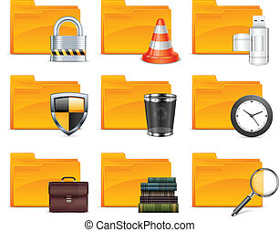 Folder with different icons, isolated on white background...
