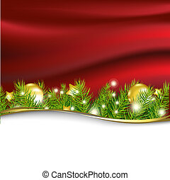Red New Year Card With Garland
