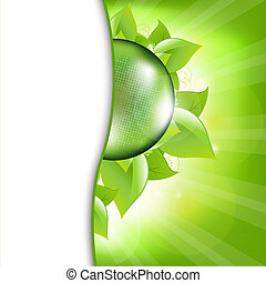 Green Eco Background With Leafs And Globe, Vector...