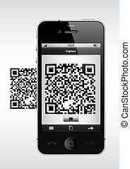Scan QR Code - Black smart phone scan a QR code (background...