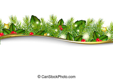 Christmas Background With Border - Merry Christmas Wreath,...