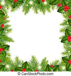 inverno, bordo, con, Natale, albero, e, agrifoglio, bacca