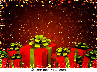 Christmas gifts - Horizontal background with christmas gifts
