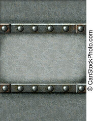 Metal frame - Grunge background with metal frame and rivets