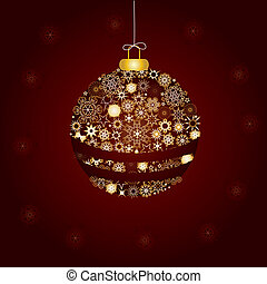 Christmas decoration made from golden snowflakes, vector illustration