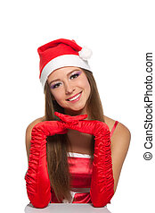 christmas girl in red santa hat - christmas girl wearing red...
