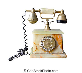 vintage telephone made of marble isolated