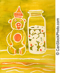 Honey Bear and Olive Jar - a painting of a honey bear and...
