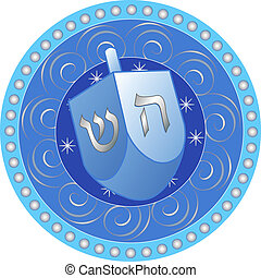 Hanukkah design with dreidel - Blue and white Hanukkah...