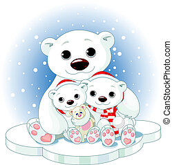 Christmas Polar bear family on ice floe