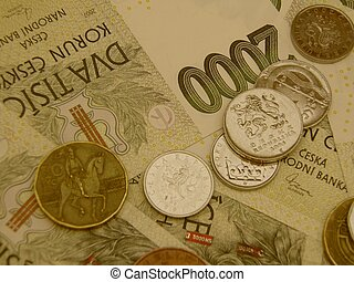 Czech korunas CZK (legal tender of the Czech Republic)...
