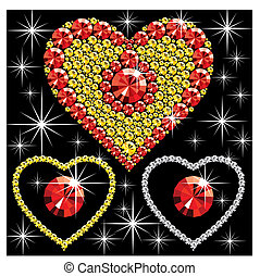 diamond heart - vector diamond hearts of different color on...