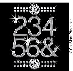 thin metal diamond letters and numbers big and small