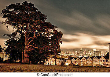 Alamo Square - Victorian homes line on Steiner Street and...