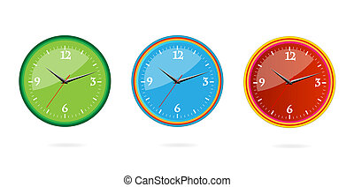 colored and creative classic clocks set isolated