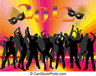 new years eve 2012 - vector illustration of dancing people...