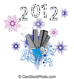 new years eve - vector illustration of an abstract city and...
