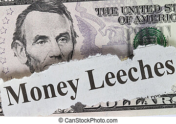 Money leeches abstract with cutout - concept for economy