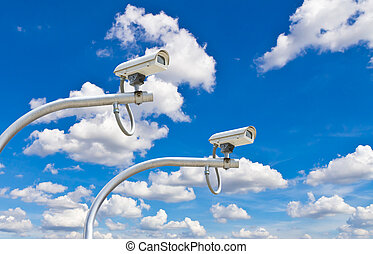 outdoor cctv cameras against blue sky - outdoor security...