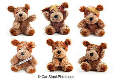 Bear Toy is ill - Cute little teddy bear over a white...