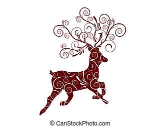 christmas roe deer - vector illustration of an isolatede...
