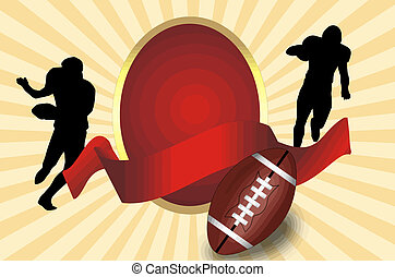 American football poster - American football ball and...